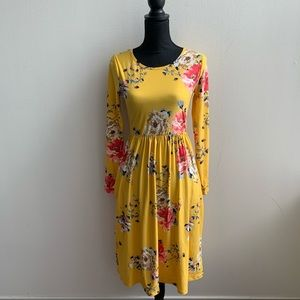 Reborn J Yellow Floral Long Sleeve Dress Small